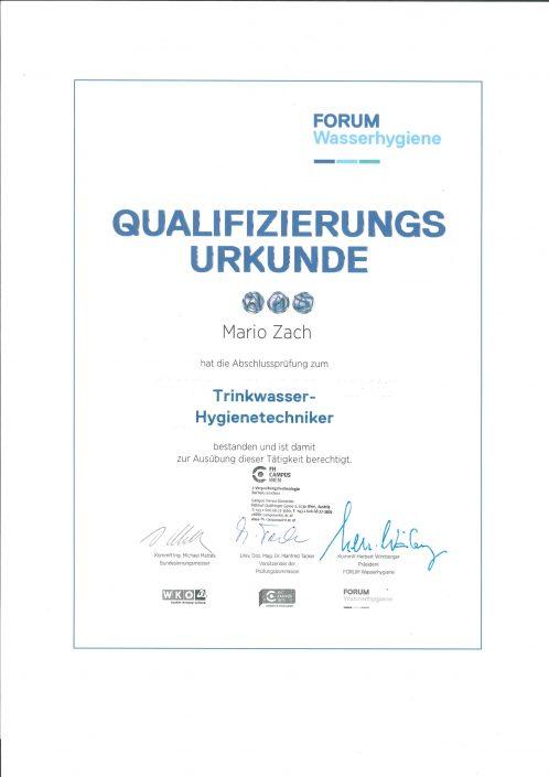 Forum_Wasserhygiene_Abschlussprüfung_Trinkwasser_Hygienetechniker_Qualifizierungsurkunde_Mario_Zach-1