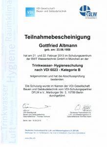 Teilnahmebescheinigung - Trinkwasser-Hygieneschulung nach VDI 6023 - Gottfried Altmann