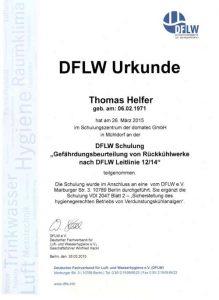 Urkunde zur Teilnahme - DFLW Schulung Gefährdungsbeurteilung von Rückkühlwerke nach DFLW Leitlinie - Thomas Helfer