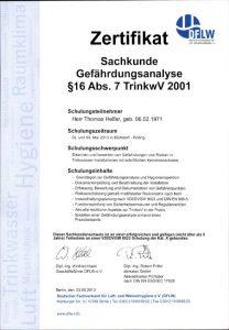 Zertifikat zur Teilnahme - Sachkunde Gefährdungsanalyse § 16 Abs. 7 TrinkwV 2001 - Thomas Helfer