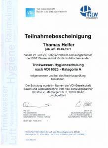 Teilnahmebescheinigung - Trinkwasser-Hygieneschulung nach VDI 6023 - Thomas Helfer