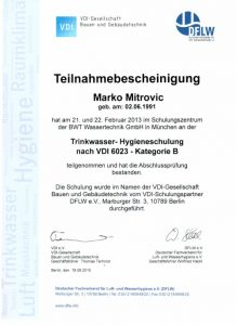 Teilnahmebescheinigung - Trinkwasser-Hygieneschulung nach VDI 6023 - Marko Mitrovic