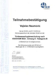 Teilnahmebestätigung - Trinkwasserhygieneschulung nach VDI/DVGW 6023 - Vojislav Naumovic