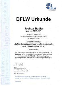 Urkunde zur Teilnahme - DFLW Schulung Gefährdungsbeurteilung von Rückkühlwerke nach DFLW Leitlinie - Joshua Stadler