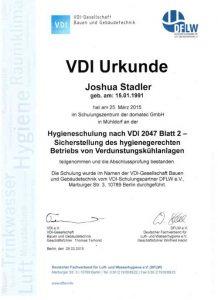 Urkunde zur Teilnahme - Hygieneschulung VDI 2047 - Sicherstellung des hygienegerechten Betriebs von Verdunstungskühlanlagen - Joshua Stadler