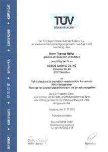 Zertifikat zur Teilnahme - VbF-Aufbaukurs - Montage von Leckschutzauskleidungen - TPV geprüft - Thomas Helfer