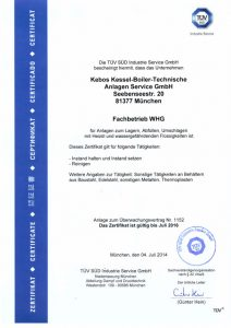 Zertifikat - Kebos GmbH - Fachbetrieb WHG - TÜV geprüft