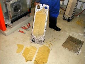 Kalkplatten eines Wärmetauschers